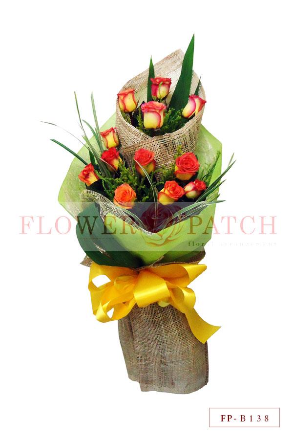 Bouquet of 1 Dozen Korean Roses Two-Tier Floral Arrangement   Flower ...