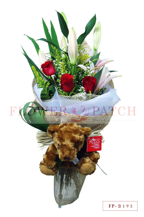 Bouquet of 3 Red Roses and 1 Stem of Stargazer Lily with Russ Bear ...