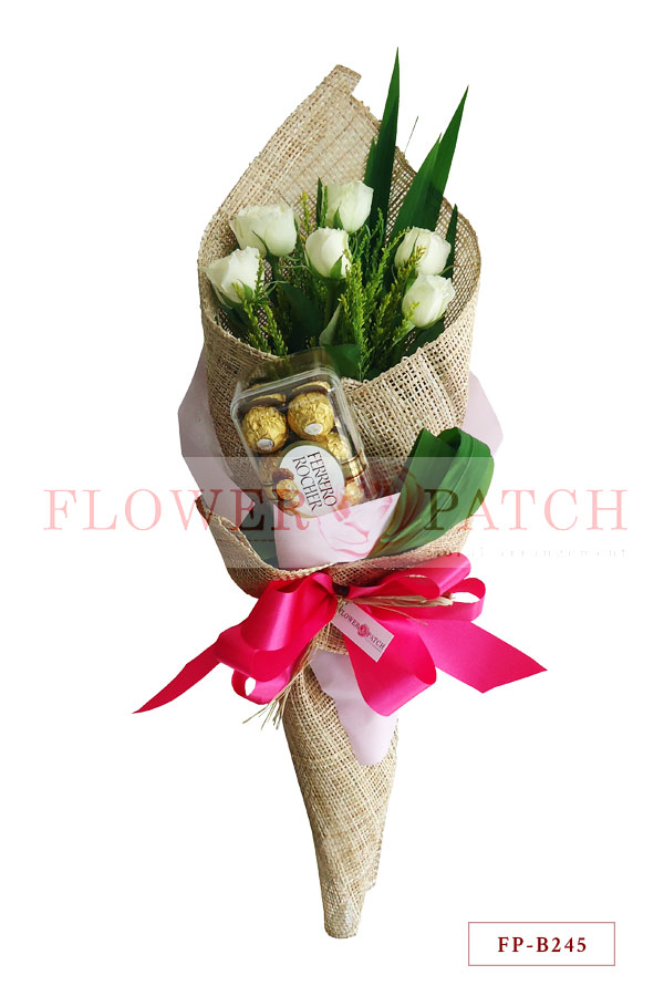 Bouquet of 6 White Roses with Ferrero Rocher (16s) | Flower Patch ...
