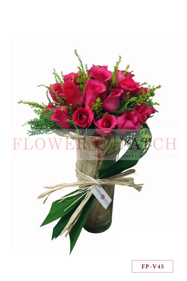 3 Dozen Pink Roses In A Vase Flower Patch Online Flower Delivery