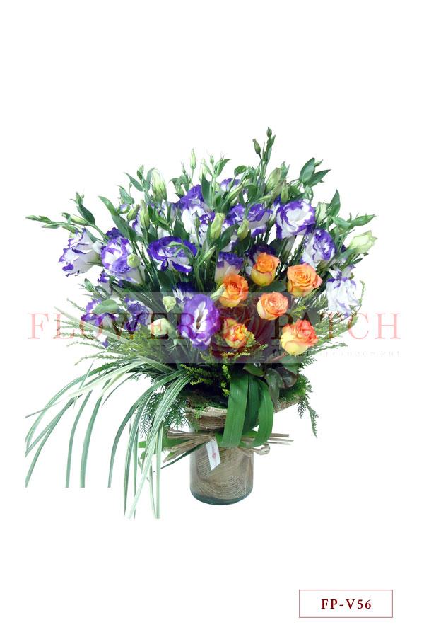 1 Dozen Stems Of Lisianthus And 6 Korean Roses In A Vase Flower