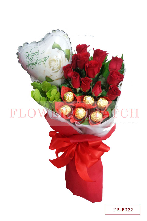 Bouquet of 1 Dozen Red Roses with 6 Ferrero Rocher Chocolates and ...